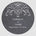 Chalkboard vintage flourish wedding Save the Date Stickers