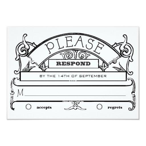 Chalkboard Vintage Modern Typography Wedding RSVP Custom Invitations