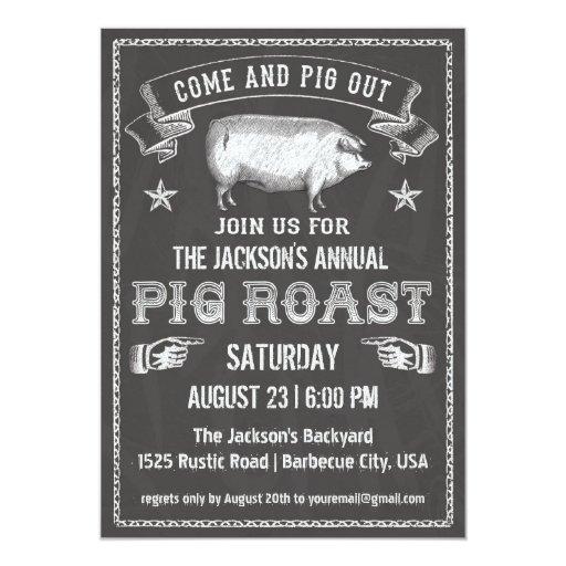 chalkboard vintage pig roast invitation zazzle. Black Bedroom Furniture Sets. Home Design Ideas