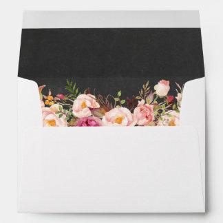 Chalkboard Vintage Pink Floral 5x7 Wedding Envelope