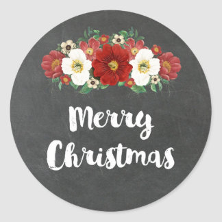 Chalkboard Vintage Red Floral Merry Christmas Classic Round Sticker