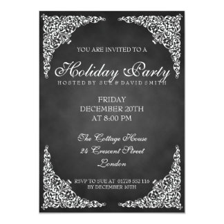 Chalkboard Vintage Swirls Holiday Party 4.5x6.25 Paper Invitation Card