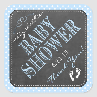 Chalkboard Vintage Typography Blue Baby Shower Square Sticker