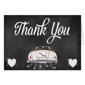 Chalkboard Vintage Wedding Car Thank You Note Stationery Note Card