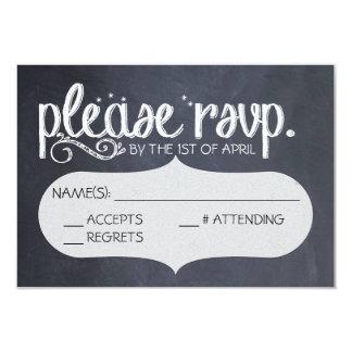 Chalkboard Vintage Wedding RSVP Postcard 3.5x5 Paper Invitation Card