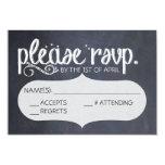 "Chalkboard Vintage Wedding RSVP Postcard 3.5"" X 5"" Invitation Card"