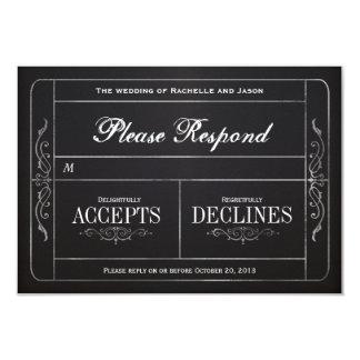 Chalkboard Vintage Wedding Ticket  RSVP Card