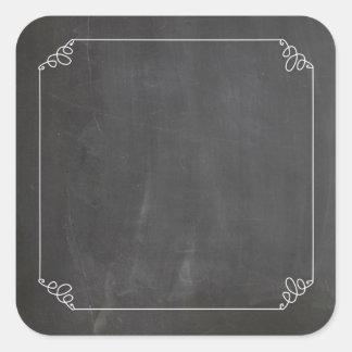 Chalkboard Vintage White Flourish Frame Customize Square Sticker