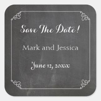Chalkboard Vintage White Flourish Frame, Save Date Square Sticker