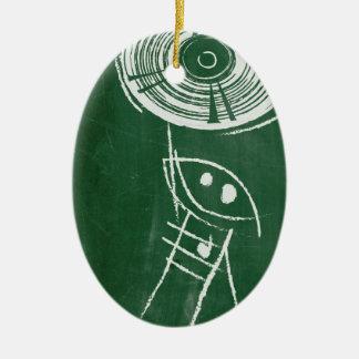 Chalkboard Vinyl Record Cartton Ceramic Ornament