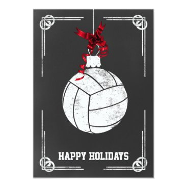 Beach Themed chalkboard volleyball player Christmas Cards