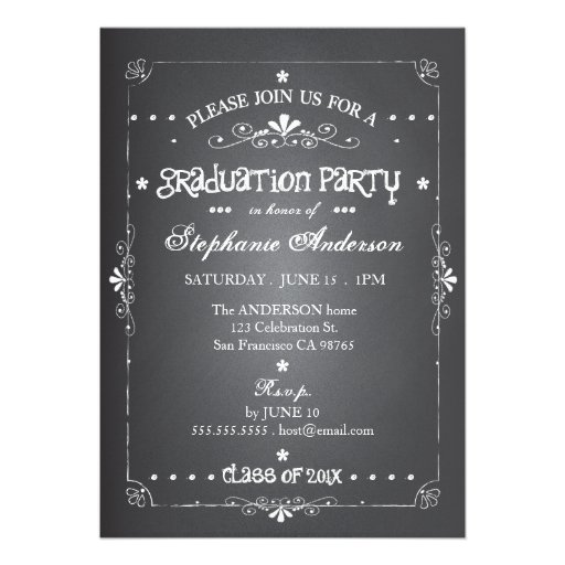 Chalkboard w Photo Graduation Party Invitation