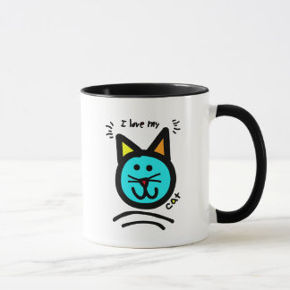 Chalkboard Wallies pop art I love my cat. Mug