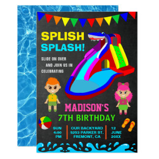 Chalkboard Water Slide Kids Birthday Party Invite
