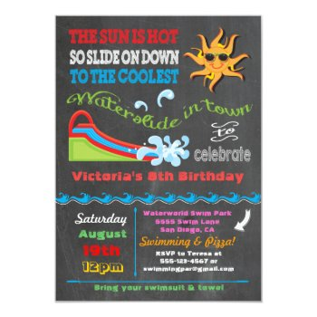 Chalkboard Water Slide Pool Birthday Party Card by McBooboo at Zazzle