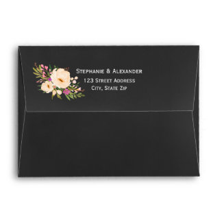 Chalkboard Watercolor Anemones Wedding Envelopes