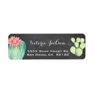 Chalkboard watercolor cactus address label