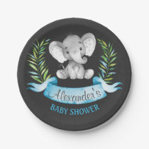 Chalkboard Watercolor Elephant Boy Baby Shower Paper Plate