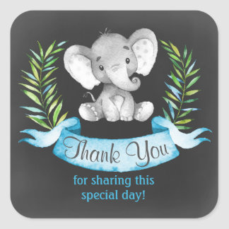 Chalkboard Watercolor Elephant Boy Thank You Square Sticker