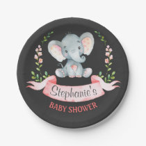 Chalkboard Watercolor Elephant Girl Baby Shower Paper Plate