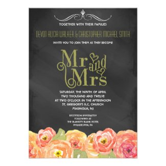 Chalkboard Watercolor Floral Wedding Invitation