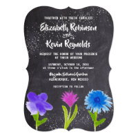 Chalkboard Watercolor Flowers Wedding Invitation
