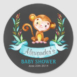 Chalkboard Watercolor Monkey Boy Baby Shower Classic Round Sticker