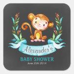 Chalkboard Watercolor Monkey Boy Baby Shower Square Sticker