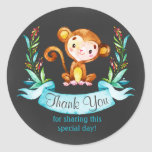 Chalkboard Watercolor Monkey Boy Thank You Classic Round Sticker
