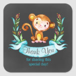 Chalkboard Watercolor Monkey Boy Thank You Square Sticker