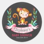 Chalkboard Watercolor Monkey Girl Baby Shower Classic Round Sticker