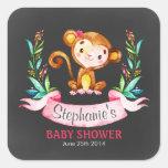 Chalkboard Watercolor Monkey Girl Baby Shower Square Sticker