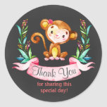 Chalkboard Watercolor Monkey Girl Thank You Classic Round Sticker