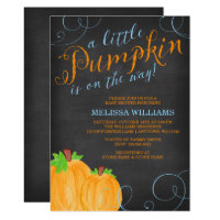 Chalkboard Watercolor Pumpkin Boy Baby Shower Invitation