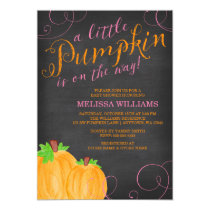 Chalkboard Watercolor Pumpkin Girl Baby Shower Card