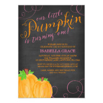 Chalkboard Watercolor Pumpkin Girl First Birthday Card