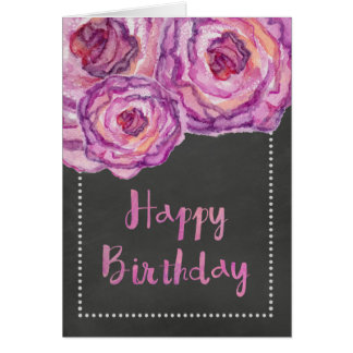 Chalkboard Watercolored Roses Birthday Card