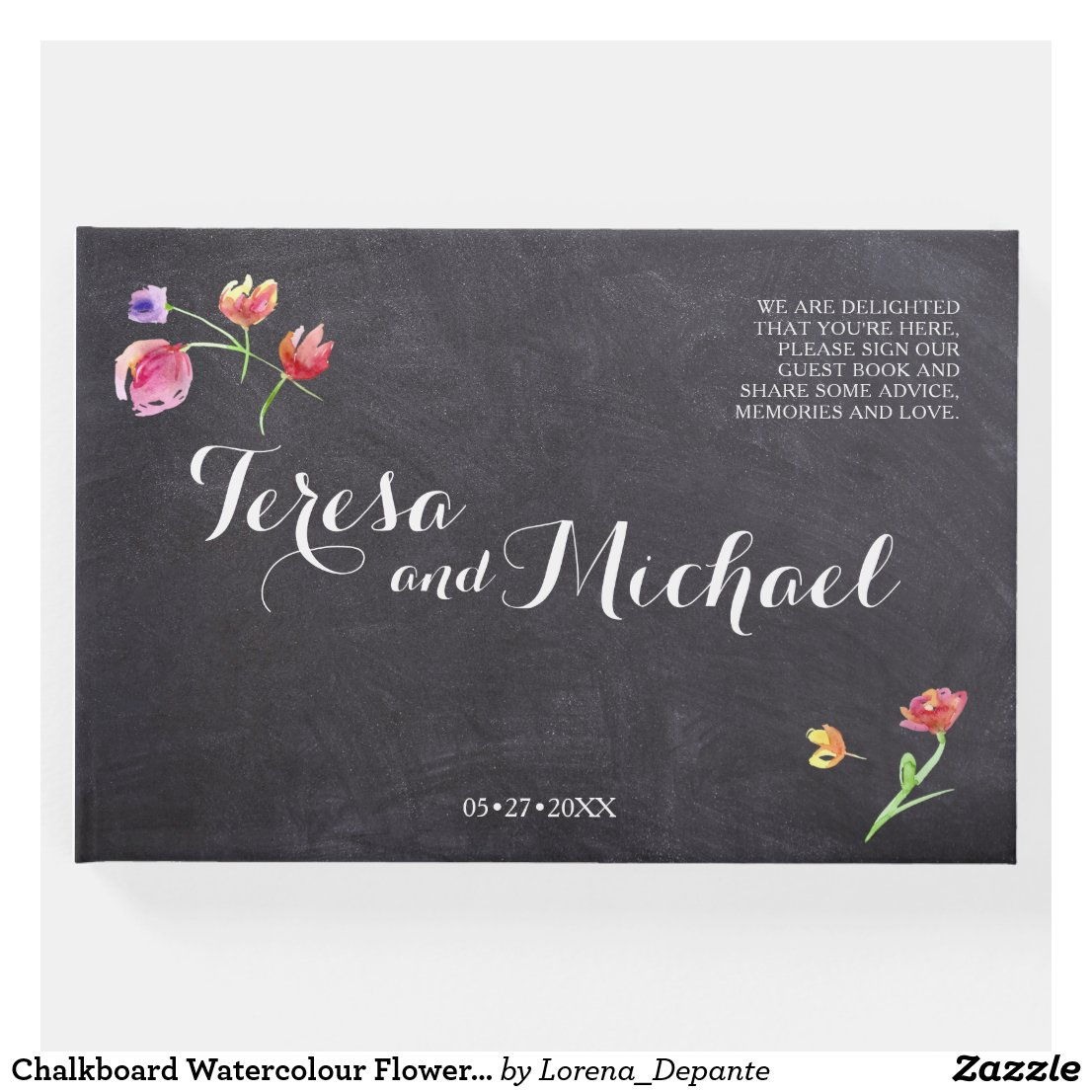 Chalkboard Watercolour Flower Painting, rustic Guest Book