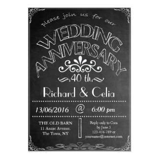Chalkboard Wedding Anniversary Invitation 40th