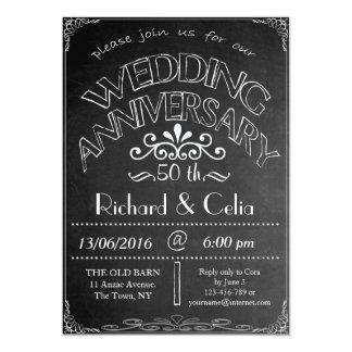 Chalkboard Wedding Anniversary Invitation 50th