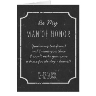 Chalkboard Wedding Be My Man of Honor Request Card