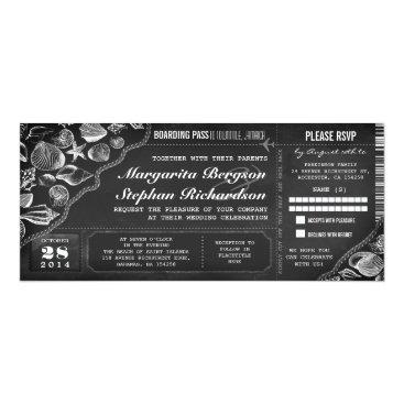 Beach Themed Chalkboard wedding boarding pass tickets card