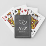 """Chalkboard wedding custom blackboard monogram playing cards<br><div class=""""desc"""">Chalkboard wedding custom blackboard monogram deck of playing cards. Monogrammed party favor with double heart logo and script calligraphy typography. Add name initials of bride and groom plus date of marriage. Elegant design for couple or thanking guests. Make your own token for wedding, engagement, anniversary, bridal shower etc. Black and...</div>"""