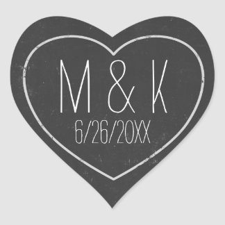 Chalkboard Wedding Date Chalk Effect Heart Sticker