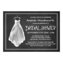 Chalkboard Wedding Dress Bridal Shower Invitations