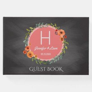 Chalkboard Wedding | Floral Wreath Boho Monogram Guest Book