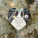 """Chalkboard Wedding Gown Bridesmaid Gifts Ceramic Ornament<br><div class=""""desc"""">Retro Romantic Swirling Musical Notes Teal Aqua Blue Bunting Banner Chalkboard Wedding Gown Bridesmaid Thank You Wedding Party Gifts</div>"""