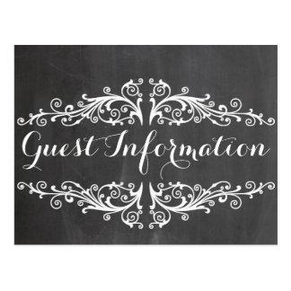 chalkboard wedding guest information postcard