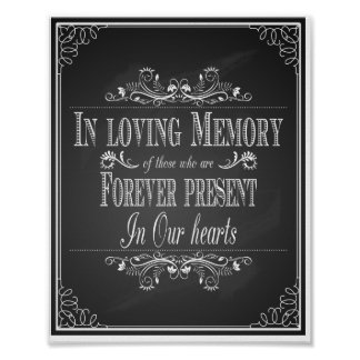 Chalkboard Wedding In loving memory Poster print