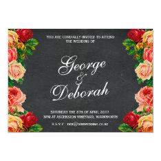 Chalkboard Wedding Invitation, 7 X 5, One Sided Card at Zazzle